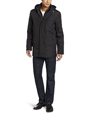 Marc New York by Andrew Marc Men's Burton City Nylon Coat with Faux Fur Lined Vest, Black, XX-Large