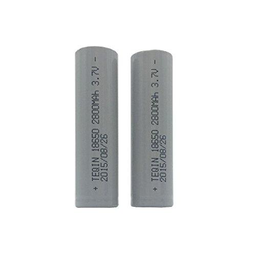 TEQIN 2Pcs 18650 batterie Li-ion rechargeable 3.7V 2800mAh (capacité réelle) pour Lampe de poche phare Torch
