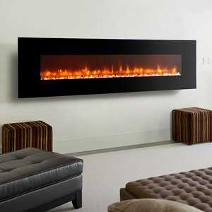 Dynasty Dynasty Contemporary Electric Fireplace Led Wall Mount - 97 In., Black, Pebble Bed