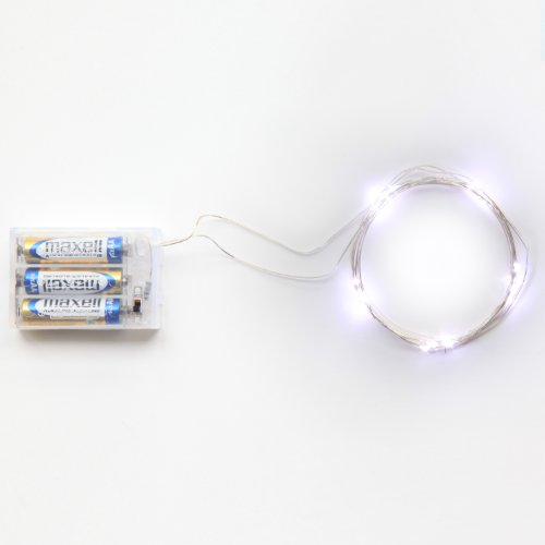 Rtgs Micro LED 20 Cold White Color Lights Battery Operated on 7ft Long Silver Color Ultra Thin String Wire