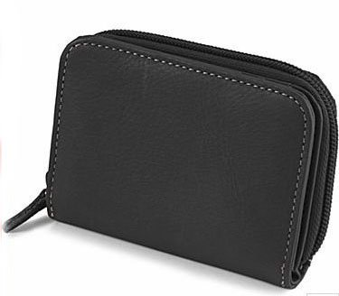 Mundi Black Leather Mini Wallet
