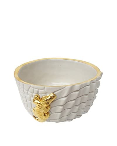 Waylande Gregory Etched Croco Small Chubby Bowl, White/Gold