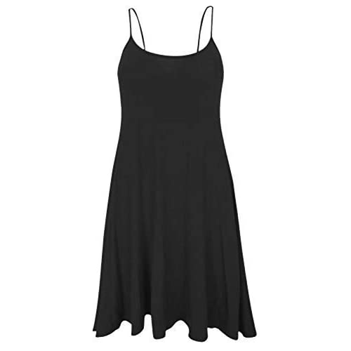 Women Celebrity Camisole Cami Sleeveless Flared Swing Strappy Vest Dress Ladies Top Size 8-22