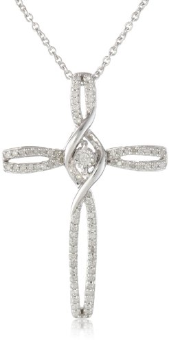 """Sterling Silver Diamond Cross With Miracle Plate Pendant Necklace (1/5 Cttw, I-J Color, I2-I3 Clarity), 18"""""""