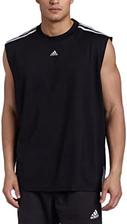adidas Men's 3-Stripes Sleeveless Top, Black/White, X-Large/Tall