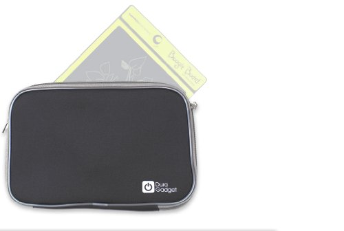 Duragadget Travel Black Weather Resistant Soft Neoprene Sleeve Case With Dual Zips For Boogie Board Lcd Writing Tablet, Boogie Board Rip Writing Tablet & Improv Electronics Boogie Board Jot 8.5 Lcd Ewriter
