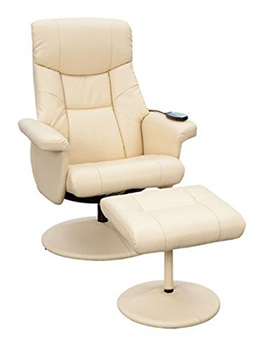Supra Swivel Recliner Reclining Chair & Footstool with Massage - Cream