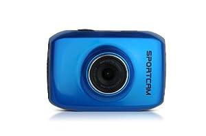 Lenco SPORTCAM-100 Sport-Digitalkamera (6 cm (2,4 Zoll) TFT-Display, HD, 4-fach digitaler Zoom, USB) blau