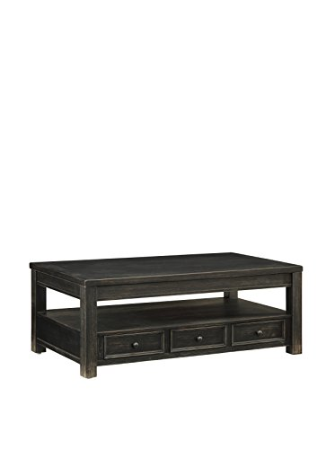Coast to Coast Industrial 3-Drawer Lift Top Cocktail Table, Black