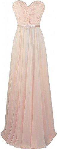 Xqmdress Women's Long Strapless Evening Bridesmaid Dress Gown Light Peach US4 (Peach Color Bridesmaid Dresses compare prices)
