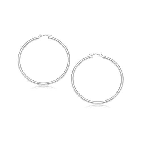 14K White Gold Polished Hoop Earrings (25 mm)