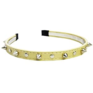Punk 3D Silver-tone Rivet Stud Spike Colourway Faux Leather Headband Hair Band