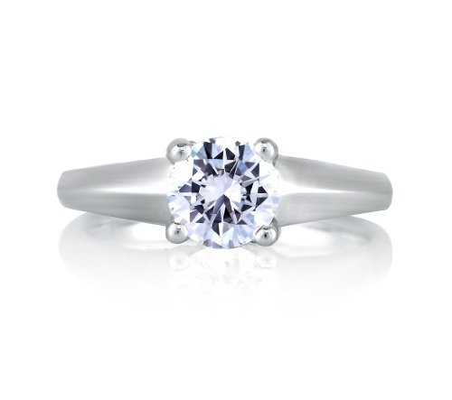The Argent Collection Sterling Silver and Cubic Zirconia Engagement Ring