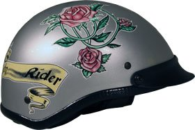 Large DOT Silver with Rose Design Motorcycle Beanie Half-Helmet