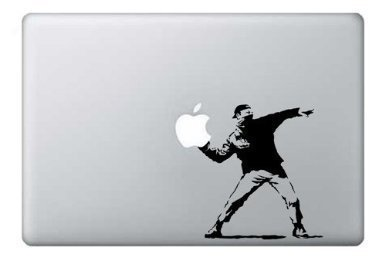 BANSKY THROWS LAPTOP STICKER IPAD TABLET APPLE FUNNY VINYL GRAPHIC DECAL
