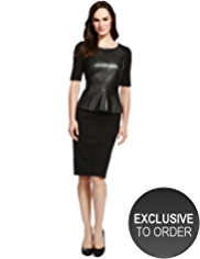 M&S Collection Leather Peplum Dress
