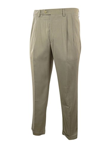 Ralph By Ralph Lauren Men'S Hemmed Modern Fit Double Pleat Pants (34Wx32L, Tan)