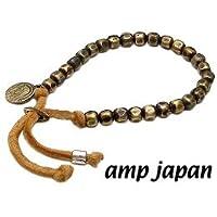 amp japan/アンプジャパン 4AK-163 ゴールド ナゲットビーズ レザーブレスレット(ブラウンレザー)