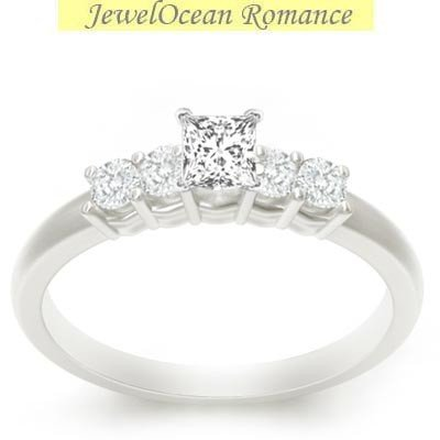 0.58 Carat Cheap Diamond Ring with Princess cut Diamond on 14K White gold