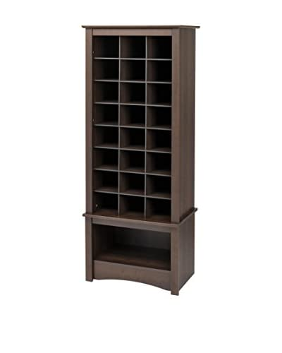 Prepac Tall Shoe Cubbie Cabinet, Espresso