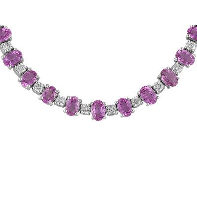 14K White Gold Pink Sapphire and Diamond Necklace