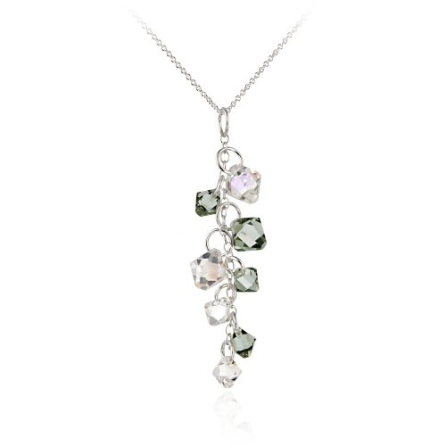 Sterling Silver Swarovski Elements Grey and Aurore Boreale Linear Drop Pendant Necklace with Rolo Chain, 18