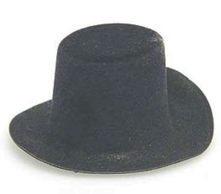 Black Flocked Felt Top Hat - Size: 2