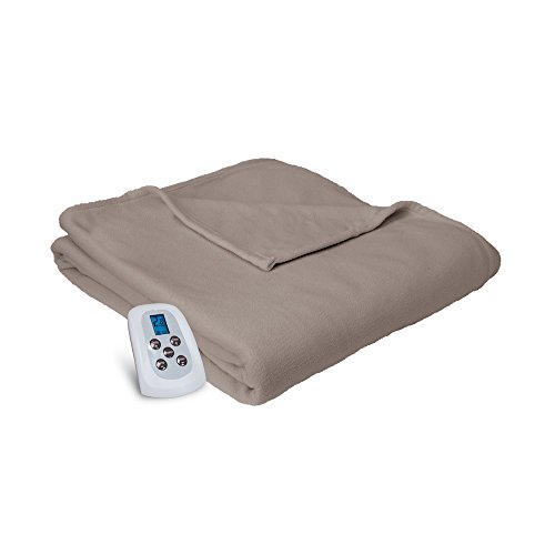 Serta Brushed Microfleece Electric Heated Blanket with Programmable Digital Controller, King Size, Beige (Heated Blanket King White compare prices)
