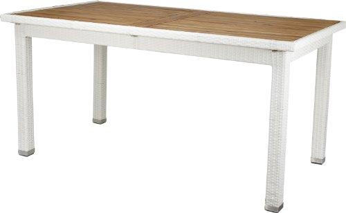 Gartenfreude Polyrattan Tisch 160 x 90 x 75 cm, weiß, Aluminiumgestell, wetterfest, mit Tischplatte aus Akazienholz