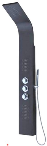 Modern Black Stainless Steel Hydrotherapy Massage Shower Panel with Water Jets