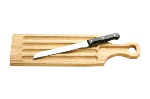 Brotschneidebrett, mit Messer, Gummibaumholz, 46,5 x 14 cm
