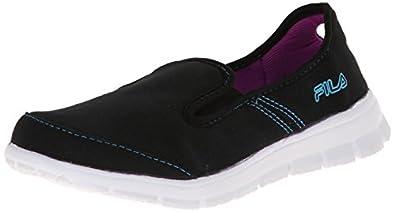 Fila Women's Amazen Memory MOC Sandal, Black/Atomic Blue/Purple Cactus Flower, 5 M US