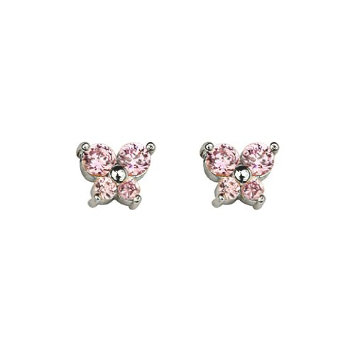 .925 Sterling Silver Rhodium Plated Pink Butterfly CZ Stud Earrings with Screw-back for Children & Women