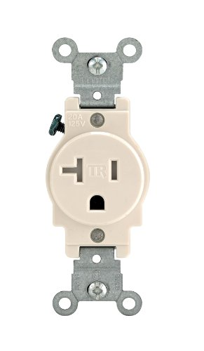 Leviton T5020-T 20-Amp, 125 Volt, Narrow Body Single Receptacle, Straight Blade, Tamper Resistant, Commercial Grade, Grounding, Ivory