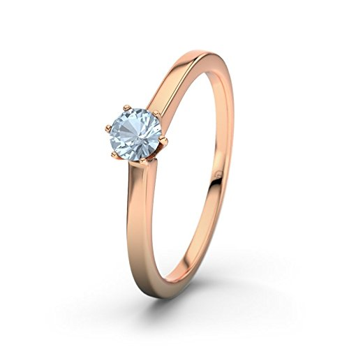 21DIAMONDS Women's Ring Santa Cruz Blue Topaz Brilliant Cut Engagement Ring, 18 K Rose Gold Engagement Ring
