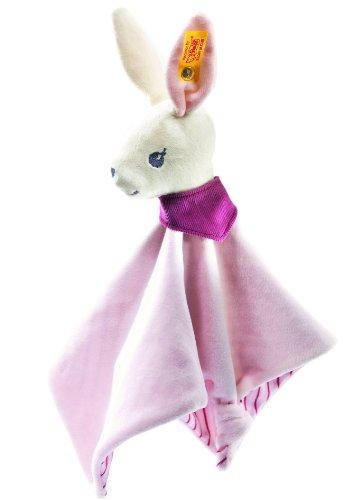 Steiff Hoppi Bunny Comforter, White/Pink Soft Plush Baby front-765781