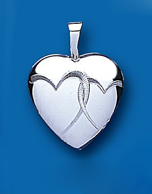 Sterling Silver Heart Patterned Heart Locket & Chain 21 x 15mm