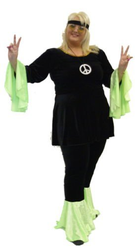 Ladies Black and Green Hippy Costume. Sizes 16 to 42