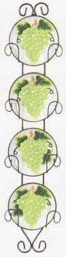 GREEN GRAPE 4 Plates & Metal Wall Han…