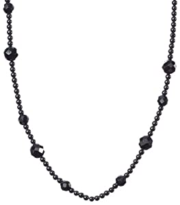Hematite 3mm , 6mm and 8mm Faceted Roundel Beaded Endless Necklace, 42""