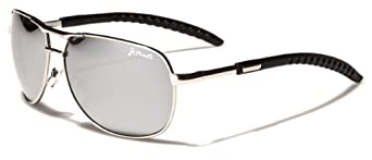 Aviator Sunglasses AV35 Flash Lens Adjustable Arms (Silver & Black)