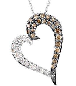 14K White Gold Chocolate and White Diamond Heart Pendant