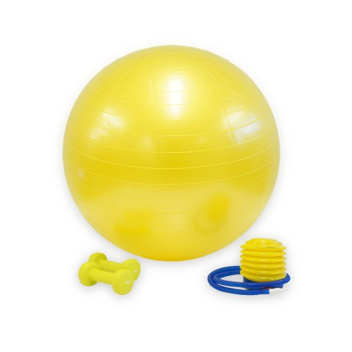 Bodymax 65cm Gym Ball including Foot Pump and Dumbbell Set