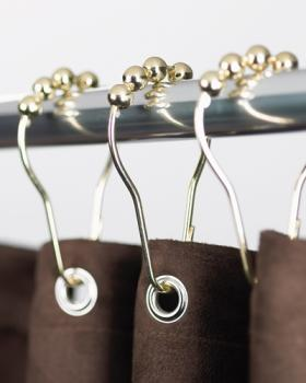 Heavy Duty Shower Curtain Rings – Polished Brass - Clipperton RollerRings - Set of 12 – High Qualit