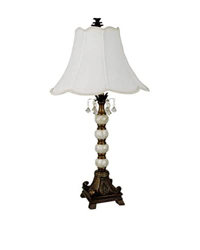 ORE International Pearly Base Table Lamp, Antique Gold