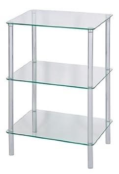 Levv table d 39 appoint carr e avec avec 3 tag res en verre transparent cuisine maison z493 - Etagere d appoint cuisine ...