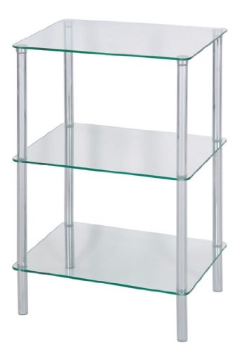 Levv 3-Tier Glass Square Shelving Unit, Clear