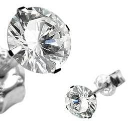 Pair of 10mm CZ Martini Stud Earrings -Sterling Silver with Stainless Steel Backs