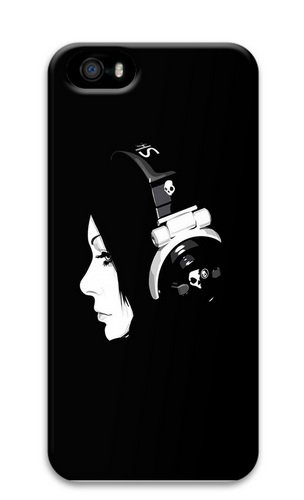 Girl Listening To Music On Headphones Polycarbonate Hard 3D Case Cover For Iphone 5 And Iphone 5S