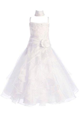 Amj Dresses Inc Girls White Flower Girl Formal Dress Size 6